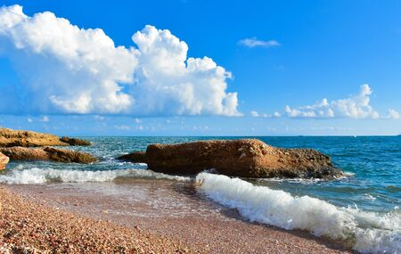 perfect waves: Blue sea wave, blue sky and white clouds