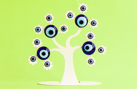 lucky charm: Tree of amulet.turkish evil eye, evil eye blue glass.