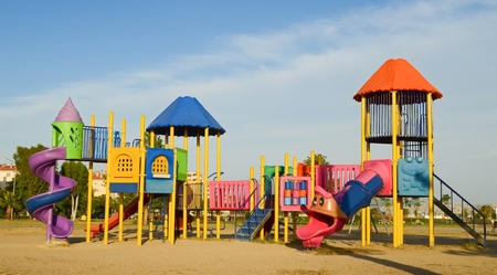 Playground in public parks. Colorful playground for children. Standard-Bild