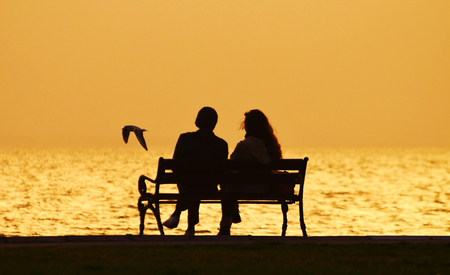 Young couple sitting on bench near seashore at sunset, silhouette. A bird flying on the sea.