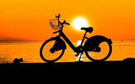 silhouet van fiets en een kleine kat bij zonsondergang