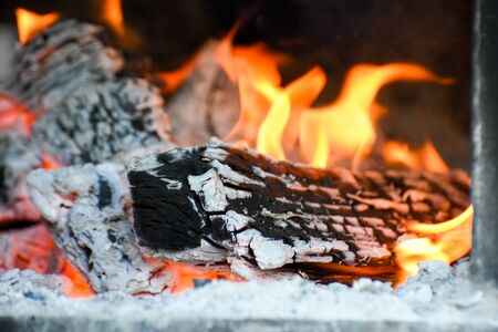 flames of a campfire in the night Standard-Bild