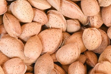 A group of almonds for sale in market Standard-Bild