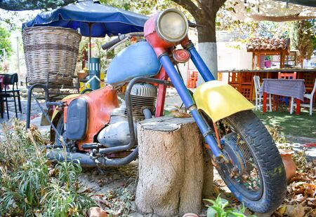 Old model motorcycle standing in a garden.