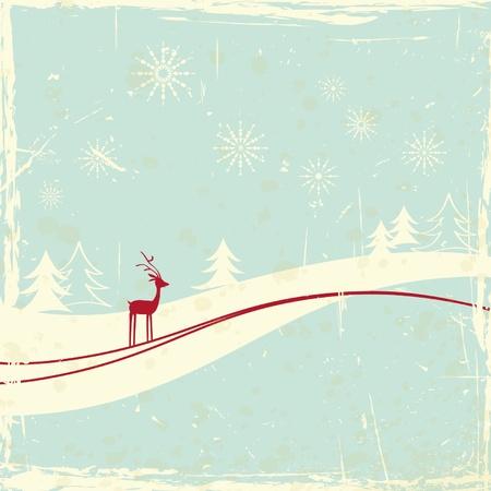 scratch card: reindeer in winter landscape Illustration