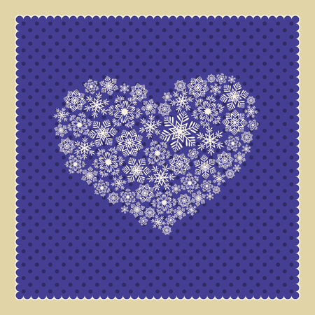 snowflakes in heart shaped Vector