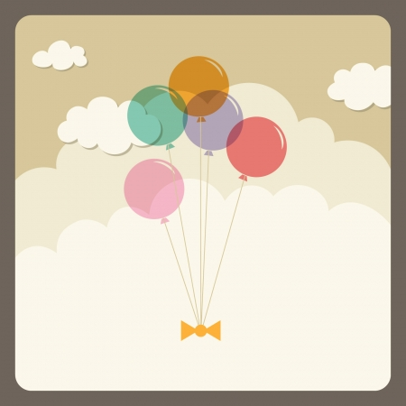 birthday card: balloons flying in the sky