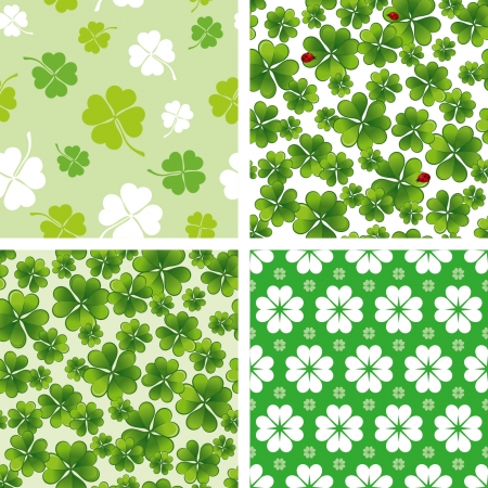 set of seamless clover patterns Vector
