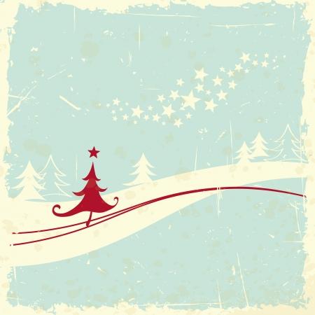 christmas tree in winter landscape Vector