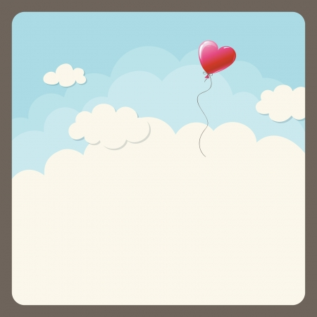 heart balloon in the sky Vector