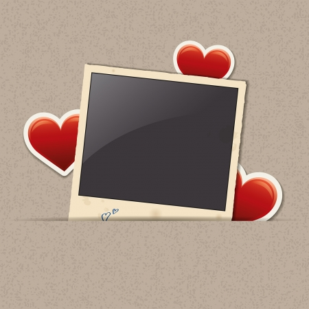 photo frame with heart stickers Illustration
