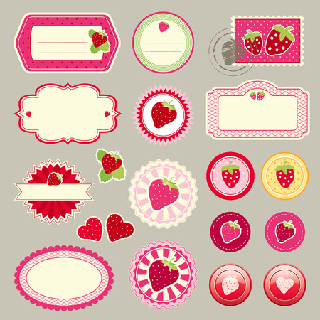 cute elements with strawberries Vector