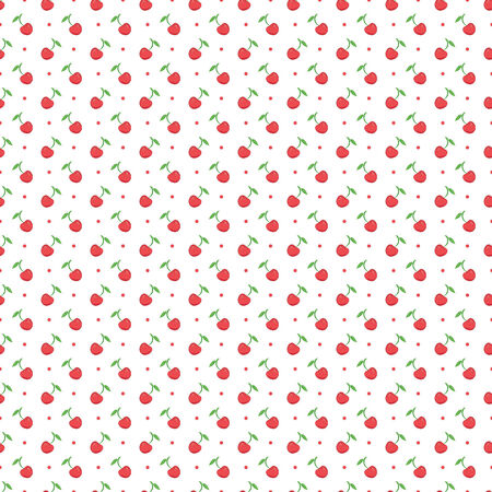 seamless pattern with dots and cherries 向量圖像