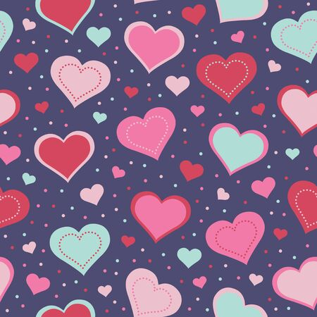 amorous: seamless pattern with hearts Illustration