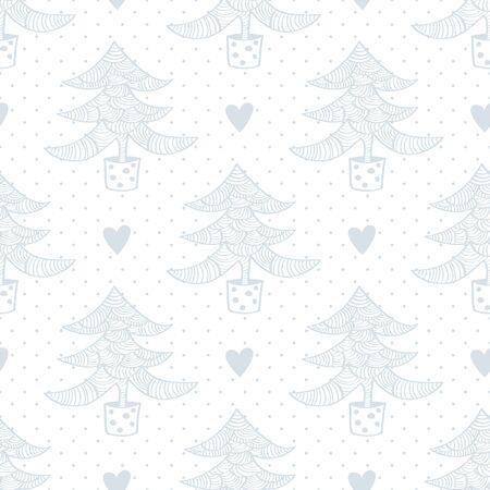Seamless pattern con alberi di Natale e il cuore Archivio Fotografico - 44329908