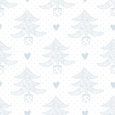 Seamless pattern with christmas trees and hearts