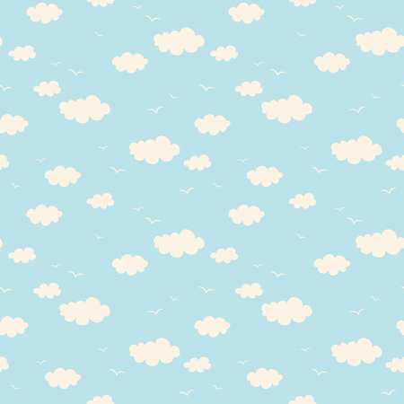 seamless pattern with clouds and birds 向量圖像