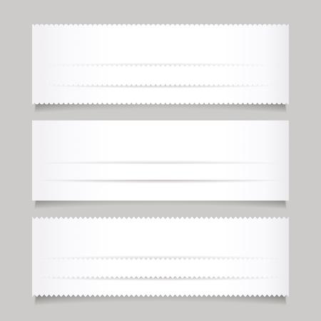 the banner: Conjunto de la bandera blanca de papel Vectores