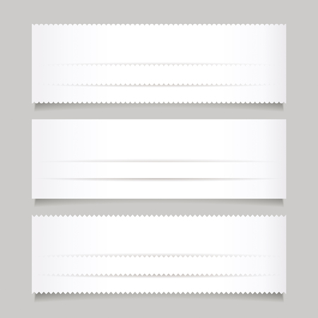 set design: Set of white paper banner