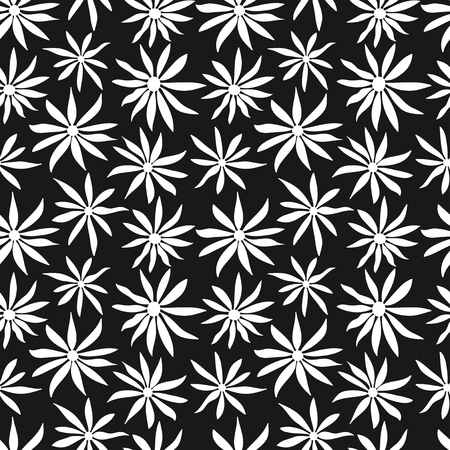 Seamless black and white floral pattern Illustration