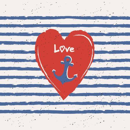 Biglietto di auguri con il cuore e l'ancora nel design marittimo Archivio Fotografico - 49808065