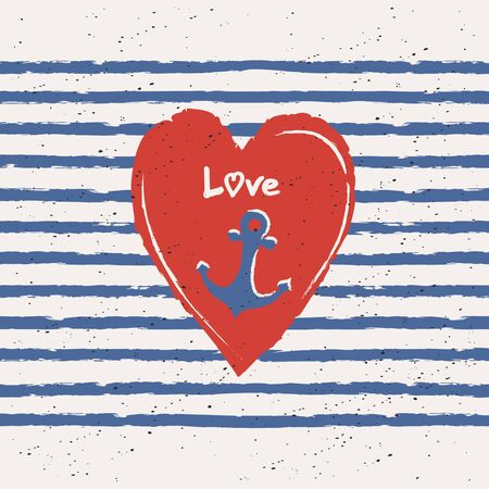 greeting card with heart and anchor in maritime design