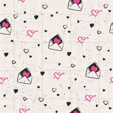 seamless pattern with hearts and love letters Illustration