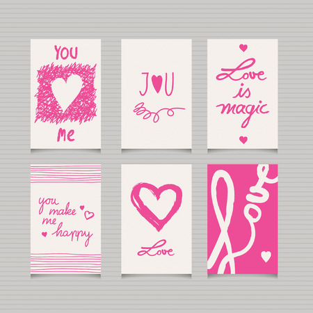 be happy: set of romantic cards Illustration