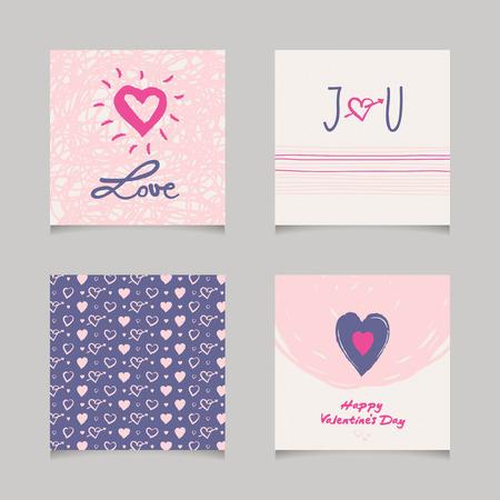 romantic: set of romantic cards Illustration
