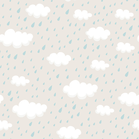 seamless pattern with rain clouds and raindrops