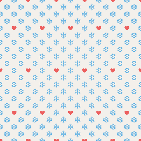 snowflake background: seamless pattern with hearts and snowflakes
