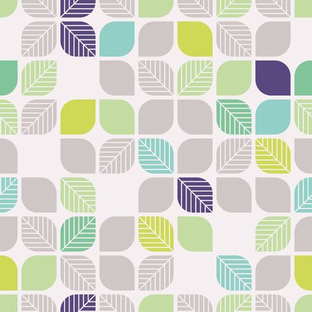 geometrical shapes: seamless geometric pattern with leaves Illustration