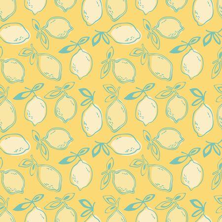 retro wallpaper: seamless pattern with lemon fruits