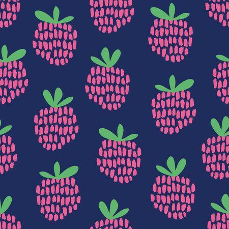 raspberries: seamless pattern with raspberries