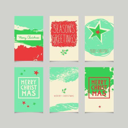grunge frame: set of decorative christmas cards Illustration