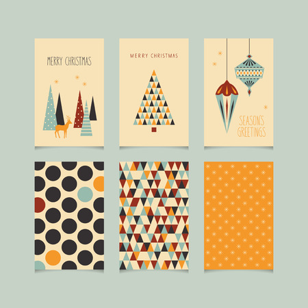 christmas motif: set of decorative christmas cards with front and back side