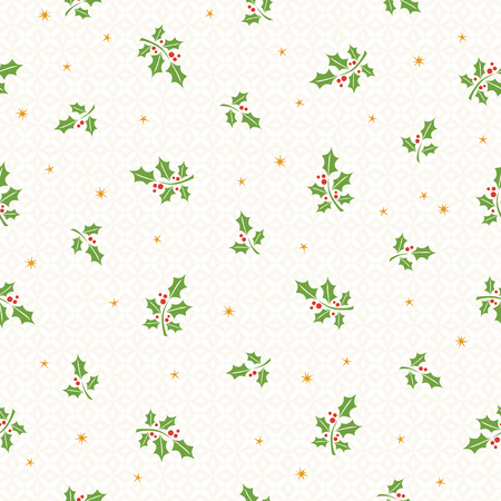 seamless christmas pattern with holly