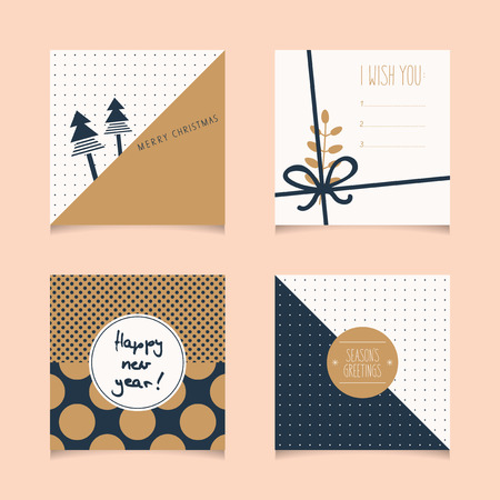 christmas motif: set of decorative christmas cards Illustration