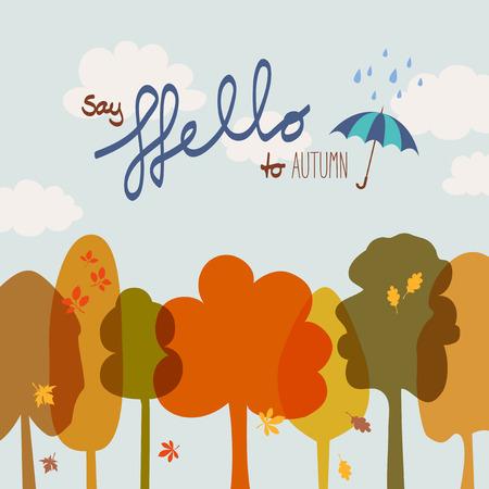 say: say hello to autumn Illustration