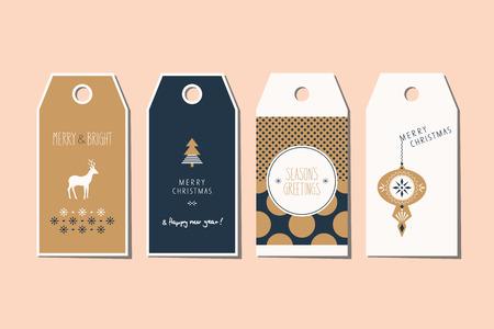 christmas motif: set of decorative christmas tags Illustration