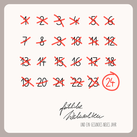 strikethrough: christmas calendar - template for christmas design with German text Illustration