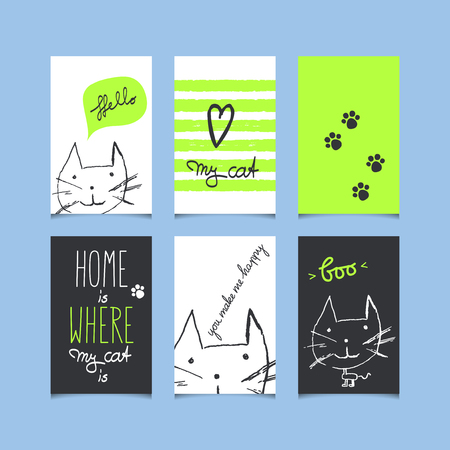 set of decorative greeting cards with cats Illustration