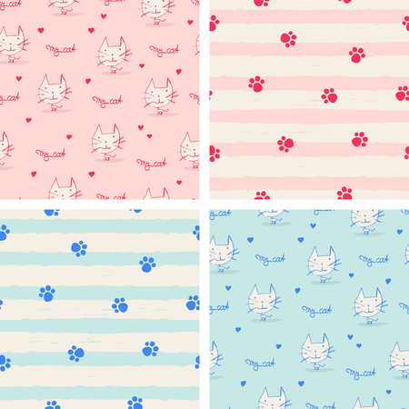 set of seamless patterns with cats