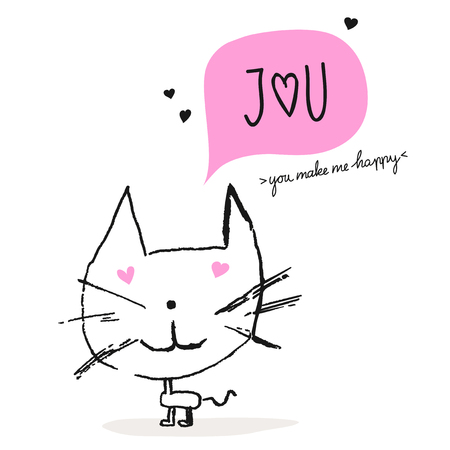 greeting card with a cat in love Illustration