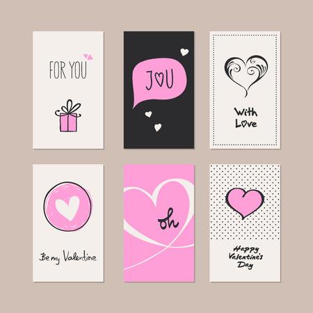 amor: set of romantic cards Illustration