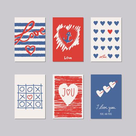 ロマンチックなカードのセット  イラスト・ベクター素材