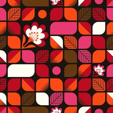 seamless geometric pattern with leaves and flowers Illustration