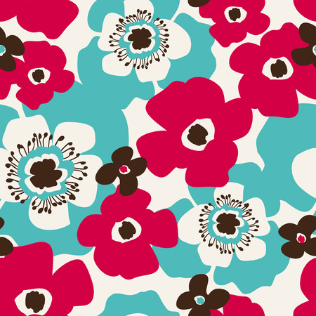 seamless pattern with hand drawn flowers Illustration