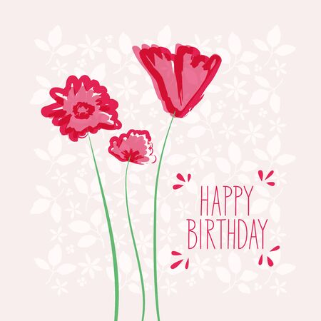 happy: happy birthday card with flowers Illustration