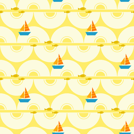 seamless summer pattern with boats and fishes